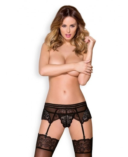 853-GAR-1 GARTER BELT & THONG BLACK