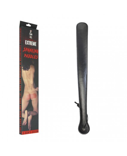 FAUX LEATHER LONG SPANKING PADDLE – BLACK