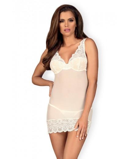 853-CHE-2 Camisa de noite & Tanga Branca