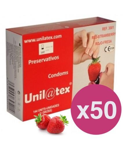 Caja de 144 preservativos Rojos Fresa x 50