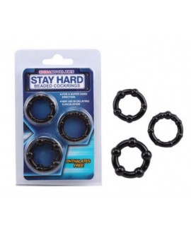 STAY HARD BEADED COCK RINGS – BLACK