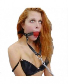 BALL GAG WITH METAL CHAIN LEASH
