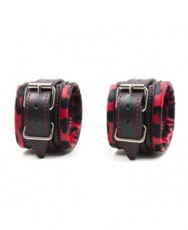 BLACK AND RED LEOPARD PRINT FAUX LEATHER HANDCUFFS