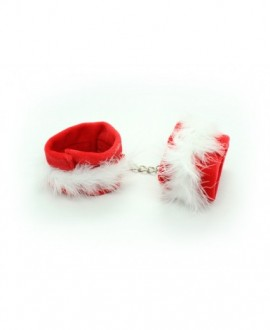 RED PLUSH FEATHERED SOFT HANDCUFFS