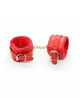FUR LINED WRIST FAUX LEATHER HANDCUFFS – RED