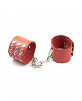 RIVETED FAUX LEATHER HANDCUFFS – RED