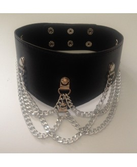 Leather Collar with 5 chains