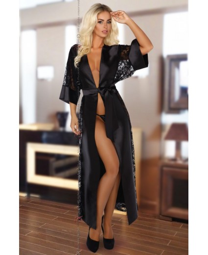 ROBE BOUQUET DRESSING GOWN BLACK