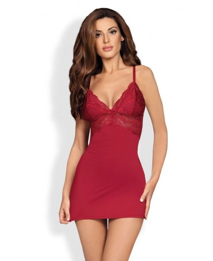 810-CHE-3 CHEMISE & THONG CLARET